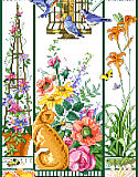 Summer Cat Sampler - PDF: This golden cat is enjoying watching the birds feeding, and the butterflies and flowers all around.