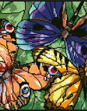 Stained Glass Butterflies - PDF: Our Stained Glass Sunflowers is a striking design by Nancy Rossi.