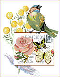 Botanical Birds - PDF: Fascinating birds and pink flowers bring out the beauty in this picture.