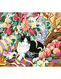 Cat On A Sofa - PDF: Portraying gentle charms, endearing qualities and irresistible sweetness, this royal pampered kittyy reposes comfortably atop a soft, cushy sofa surrounded by fruits of the harvest.
