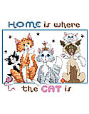 Home Is Where The Cat Is - PDF: Home is where the cat is, whether is is chasing yarn or just lounging on the sofa, it's home. This counted cross stitch design is by Kooler Design Studio.