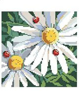 Ladybugs and Daisies make lovely companions in this colorful design by Nancy Rossi. Stitch the design on large count Monk's cloth for a beautiful accent pillow.