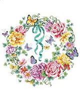 Blossoms and butterflies, buds and bows intertwined in a beautiful and colorful wreath