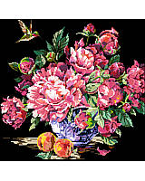 A spectacular floral design of pink toned peonies in full bloom are the central subject in this chart.