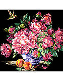 Peonies - PDF: A spectacular floral design of pink toned peonies in full bloom are the central subject in this chart.