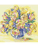 Magnificent Watercolor Tulips ready for that first stitch guaranteed to bring them to life.