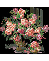 A striking piece stitched on black Aida fabric, the light and dark pink roses stand out wonderfully against the black backdrop.
