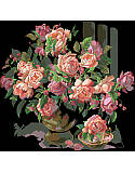 Classic Roses - PDF: A striking piece stitched on black Aida fabric, the light and dark pink roses stand out wonderfully against the black backdrop.