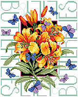Butterflies  surround a beautiful bouquet of lilies in this lovely design.