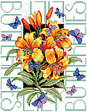 Butterflies and Lilies - PDF: Butterflies  surround a beautiful bouquet of lilies in this lovely design.