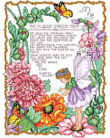 Enjoy spring all year long with this enchanting flower garden fairy poem design by Barbara Baatz Hillman. The sweet fairy is surrounded by lovely flowers, buds and butterflies. Adds a magical touch to any home, for your avid gardener or special girl.