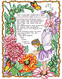 Flower Garden Fairy - PDF: Enjoy spring all year long with this enchanting flower garden fairy poem design by Barbara Baatz Hillman. The sweet fairy is surrounded by lovely flowers, buds and butterflies. Adds a magical touch to any home, for your avid gardener or special girl.