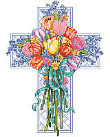 Celebrate spring and rebirth with this Easter inspired pious floral cross.  