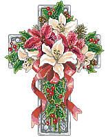 Celebrate the winter holidays with this stunning cross featuring a bouquet of red and white poinsettias, holly accents, and decorative greenery, all tied up with a vivid red bow.