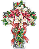 Winter Season Floral Cross - PDF: Celebrate the winter holidays with this stunning cross featuring a bouquet of red and white poinsettias, holly accents, and decorative greenery, all tied up with a vivid red bow.