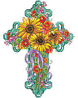 Bring bright, cheerful spirit into your space with this beautiful cross floral design.