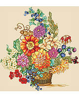 This Vibrant and festive basket is bursting with fall warmth, dahlias, berries and foliage! It's one of our favorite seasonal Counted Cross Stitch bouquets! Adds an accent of Fall color to seasonal home decor. So classic, you can display it all year.