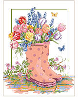 This cheerful scene depicts cute rain boots bursting with colorful tulips, lavender and daffodils in a beautiful garden after a Spring rain. Little butterflies are flitting about to soak up the sun. This charming scene makes you feel like you've just come in from a gardening session in springtime.