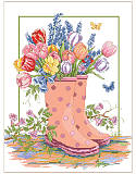 Spring Rainboots - PDF: This cheerful scene depicts cute rain boots bursting with colorful tulips, lavender and daffodils in a beautiful garden after a Spring rain. Little butterflies are flitting about to soak up the sun. This charming scene makes you feel like you've just come in from a gardening session in springtime.