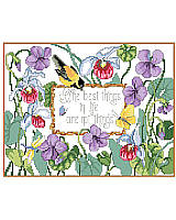 "What better way to tell a story of what's important in life than with this cheerful cross stitch. This beautiful floral design with a sentiment that reads, ""The best things in life aren't things,"" reminds us all that material objects aren't worth more than family, friends, love, and even a little sunshine."