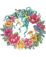 Bring an outdoor charm to your walls with this colorful wreath boasting vibrant hues.This design showcases an abundance of springtime blossoms artfully arranged and features colorful flowers in various stages of bloom, brimming with hot pink,coral, and yellow flowers, accompanied by a bluebird and dragonfly.