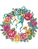 Floral Wreath - PDF : Bring an outdoor charm to your walls with this colorful wreath boasting vibrant hues.This design showcases an abundance of springtime blossoms artfully arranged and features colorful flowers in various stages of bloom, brimming with hot pink,coral, and yellow flowers, accompanied by a bluebird and dragonfly.