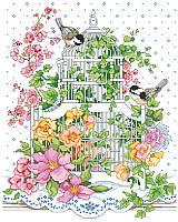 Your dreams are sure to bloom in this vibrant cross stitch! This design features adorable birds sitting outside a delicate, white bird cage among an explosion of yellow and pink blossoms.