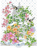 Blossoming Bird Cage - PDF: Your dreams are sure to bloom in this vibrant cross stitch! This design features adorable birds sitting outside a delicate, white bird cage among an explosion of yellow and pink blossoms.
