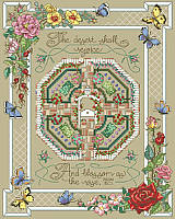 Long out-of-print but back by popular demand, this charming inspirational cross stitch design features the Bible verse: The desert shall rejoice, and blossom as the rose. - Isaiah 35:1
