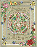Rose Garden - PDF: Long out-of-print but back by popular demand, this charming inspirational cross stitch design features the Bible verse: The desert shall rejoice, and blossom as the rose. - Isaiah 35:1