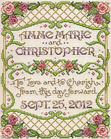 A beautiful small wedding sampler by Sandy Orton.