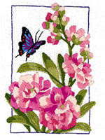 Lovely shades of pink delight this fluttering butterfly. It is so realistically colorful, one could almost reach out and touch it. Worked in Crewel Embroidery this quick and easy piece will inspire you to try your skill in this  method of embroidery.
