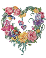 A lovely heart full of flowers to be stitched to celebrate the coming of spring.