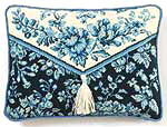 Classic blue mood! Decorative Toile (French for cloth) is back in vogue. Soothing shades of blues against antique white is a classy, sure-to-please pairing. Directions included for the tassel if you choose to finish as a pillow.