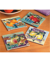These delightful fruit coasters will add a touch of nostalgia to your entertaining.