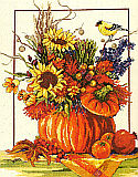 Fall Floral Arrangement - Kit: Vibrant and festive, this Counted Cross Stitch piece will compliment any decor during the fall season.