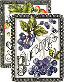 "Blackwork Berries - Kit: ""Blackwork Berries"", comes in a set of two. What is a strawberry without a blueberry? The set will accent any room in your house, or give to someone special as a gift."
