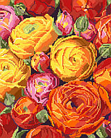 An explosion of orange, red, yellow and pink fill this fabulous design by Nancy Rossi. One of our classic florals, this depiction of Ranuncula's in full bloom is a beauty.  This design can be worked up in cross stitch, big stitch or needlepoint as there is no back-stitching.