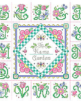 A garden of delights awaits you while stitching this cheerful garden theme alphabet sampler. Butterflies and flowers bloom in every letter. Pattern includes an alphabet to personalize the quilt style square in the middle to show who's the gardener in your world.