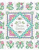 In the Garden Alphabet Sampler - PDF: A garden of delights awaits you while stitching this cheerful garden theme alphabet sampler. Butterflies and flowers bloom in every letter. Pattern includes an alphabet to personalize the quilt style square in the middle to show who's the gardener in your world.