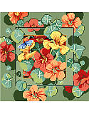 Nasturtiums PDF: This beautiful, delicate flower design by Nancy Rossi will attract butterflies to your sofa or chair