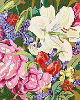 Lilies, roses, lilacs and tulips abound in this classic floral bouquet design by designer Nancy Rossi.