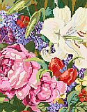 Lily and Roses - PDF: Lilies, roses, lilacs and tulips abound in this classic floral bouquet design by designer Nancy Rossi.