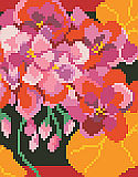 Vivid Geraniums Big Stitch - PDF : PDF ChartBright and vivid geraniums will burst off of this big stitch design.