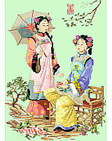 Elegan Asian ladies sitting in the garden