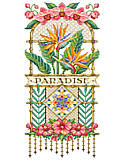 Paradise Floral - PDF: Bird-of-Paradise and Hibiscus! Petals of absolute perfection in wispy shades of pastel color. Add to that, the stunning Orchids that bedeck this outstanding design. The center  diamond of orchids is worked over one thread to capture every nuance of the delicate petals. A stitched, beaded fringe adds a finishing touch to this elegant piece.