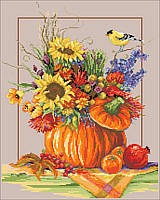Vibrant and festive, this Counted Cross Stitch piece will complement any decor during the fall season.
