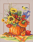 Fall Floral Arrangement - PDF: Vibrant and festive, this Counted Cross Stitch piece will complement any decor during the fall season.