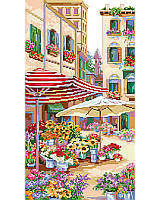 A glorious European flower market street scene is gorgeously depicted by Linda Gillum.