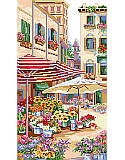 Flower Market - PDF: A glorious European flower market street scene is gorgeously depicted by Linda Gillum.